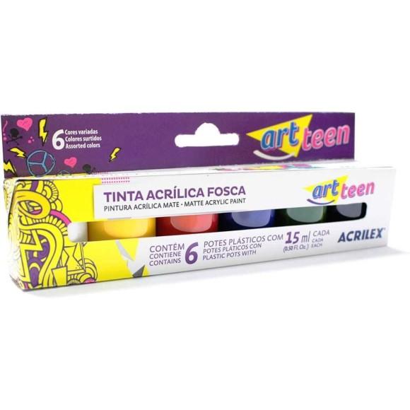 TINTA ACRÍLICA FOSCA 15ML 6 CORES ART TEEN ACRILEX