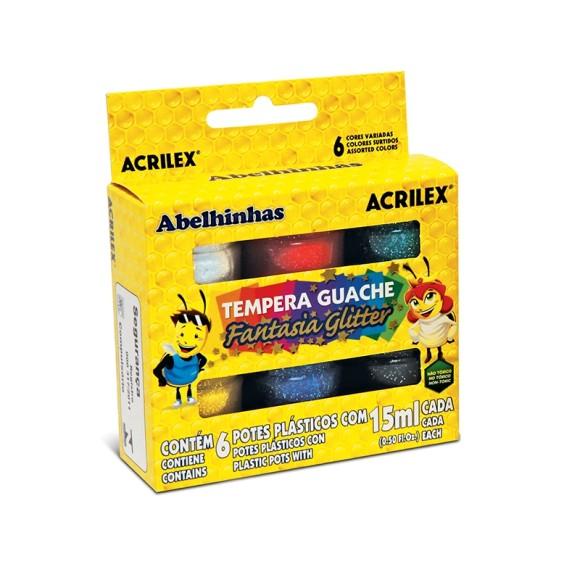TEMPERA GUACHE FANTASIA GLITTER 6 CORES 15ML ACRILEX